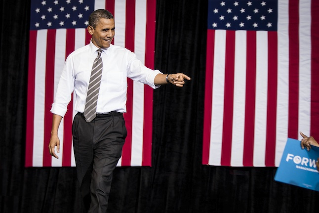 US President Obama Election Campaigns at Kent State, Ohio
