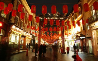 Paper Lanterns Hanging During Chinese New Year in Gerrard Street