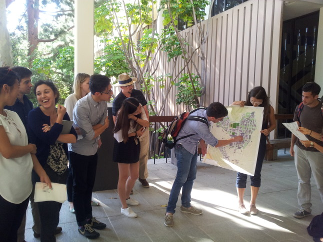 Students at the Urban Humanities Initiative present a map as part of fieldwork on the hidden, underground structures of UCLA, Photos courtesy the UCLA Urban Humanities Initiative
