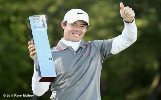 Rory McIlroy celebrates winning the BMW PGA Championship at Wentworth credit@www.whosay.com/rorymcilroy