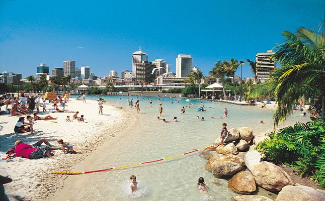 The popular south bank beach in Brisbane. Credit@ wiki.com