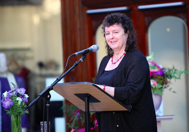 Carol Ann Duffy speaking at an event. The first female Poet Laureate for the United Kingdom campaigned for the ban on sending books to prison to be overturned. Credit@CarolDuffytwitter.com