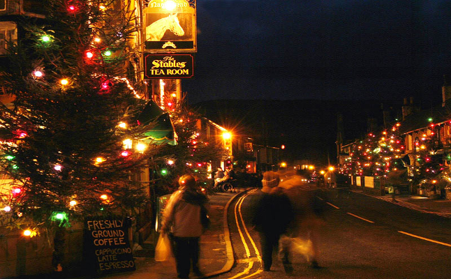 Decorative lights in Castleton. Credit@peakdistrict.gov.uk