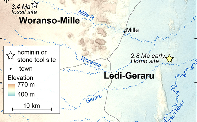 Detailed map of where the Ledi-Geraru research site is located in reference to other important fossil sites in Ethiopia. Credit@ErinDiMaggio