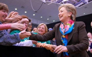 Hillary Clinton shaking hands with people at an event in Penn State in 2008. Credit@Penn State.
