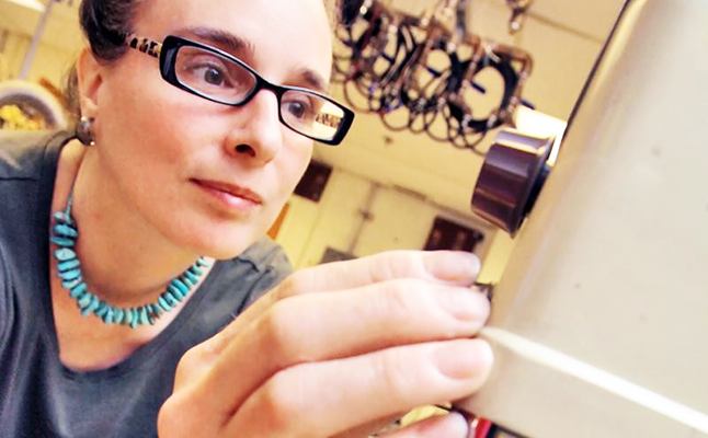 Lenore Rasmussen working in a laboratory at PPPL. Credit@ElleStarkman/PPP