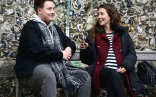 Behind the scenes with Riley Carter Millengtonand Lacey Turner. Stacey Branning (LACEY TURNER), Kyle (RILEY CARTER MILLINGTON). Credit@BBC Photographer: Kieron McCarron