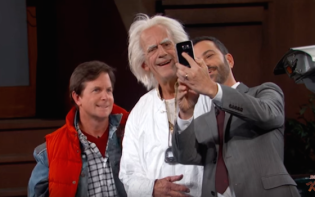 Marty McFly and Doc Brown Visit Jimmy Kimmel Live. Credit@ YouTube Screenshot