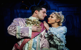 CINDERELLA Production;  Steve Wickenden (as Dandini); Stewart Wright (as Ugly Sisiter); Stephen Mulhern (as Buttons); Joanne Sawyer (as Cinderella); Lisa Davina Phillips (as Fairy Godmother); Directed by Mark Daines; Written by Paul Hendyt; at the Ashcroft Theatre, Croydon, Surrey, UK; 03 December 2015; Credit: Frazer Ashford / ArenaPAL; www.arenapal.com