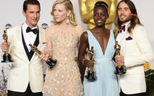 Oscar winners of 2014  Matthew McConaughey, Cate Blanchett, Kenyan actress Lupita Nyong'o  and Jared Leto at the press room during the 86th annual Academy Awards ceremony at the Dolby Theatre in Hollywood, California.Credit@Flickr.