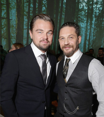Co-stars Di Caprio and Hardy at the Twentieth Century Fox World Premiere for 'The Revenant'.Credit@Picselect