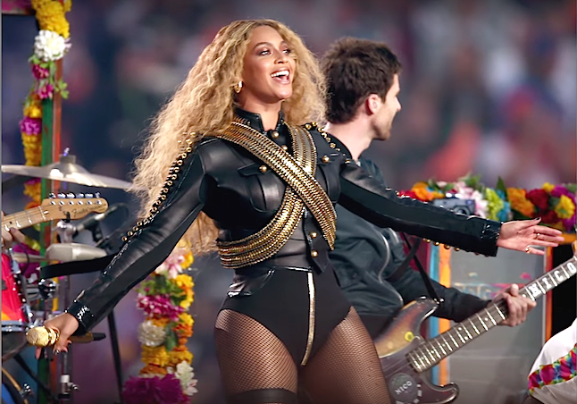 Beyonce's half time performance at the Superbowl 2016 who was also joined by artist Bruno Mars and Coldplay.Credit@VEVOYoutube