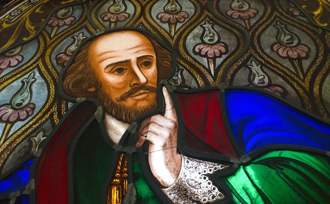 Stained glass window of William Shakespeare at the state library of Victoria.Credit@flickruser:SalmonJaved