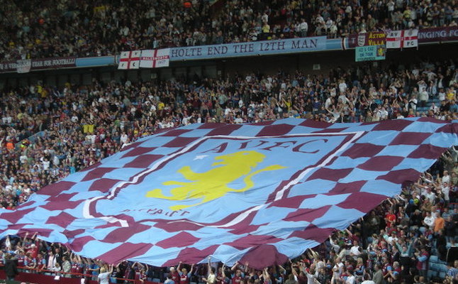 Aston Villa flag at the Holte End Villa Park.Credit@wikimedia