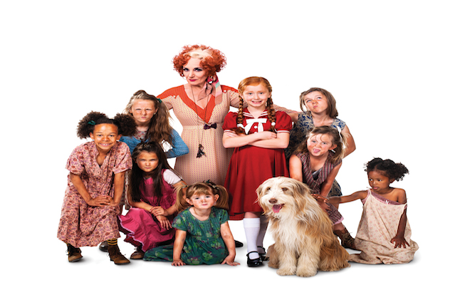 Lesley Joseph as Miss Hannigan with Annie and orphans. Credit@Matt Crockett