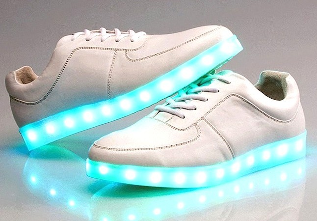 White led light up luminous shoes sneakers trainers low tops