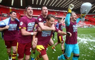 Reigning Championship winners Burnley celebrating promotion last season. Credit @tumblr.com