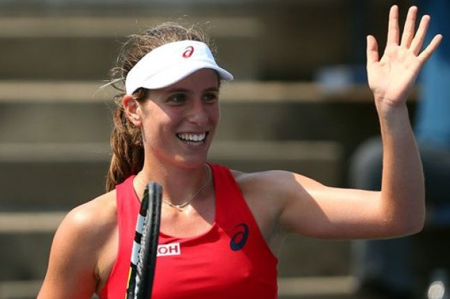 Johanna Konta celebrates a victory in the China Open. Credit @pinterest.com.