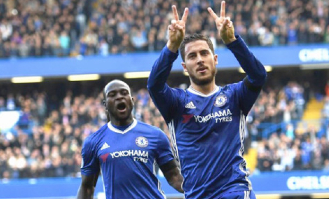 Eden Hazard celebrates his goal with a 'W' symbol. Credit @tumblr.com.