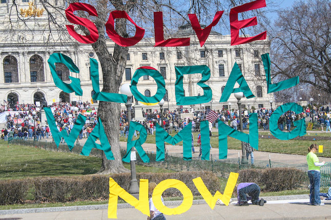 Supporters take action at the Global Warming day of Action Credit@Tony Webster via. Flickr