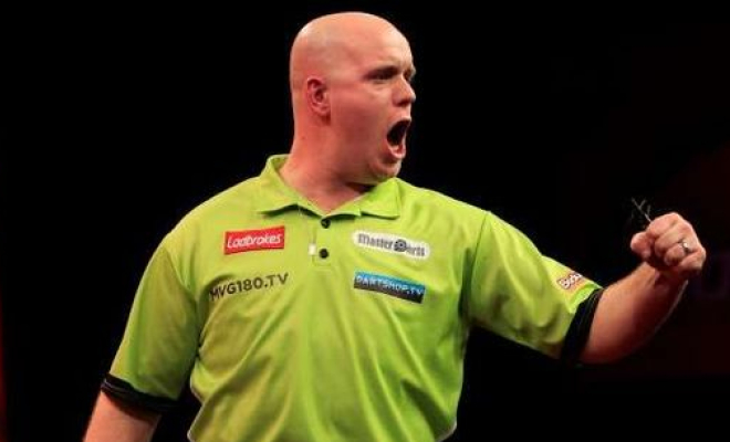 Van Gerwen celebrating winning a leg. Credit @pinterest.com.