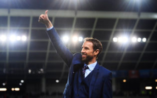 Gareth Southgate celebrates his team's victory in a World Cup qualifier. Credit @tumblr.com.