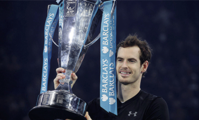 Murray holds the tournament trophy aloft. Credit @tumblr.com.