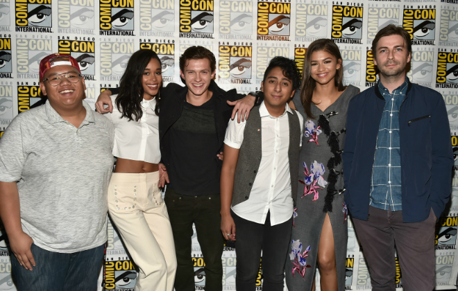 "Actors Jacob Batalon, Laura Harrier, Tom Holland, Tony Revolori, Zendaya and director Jon Watts from Marvel Studios' ""Spider-Man: Homecoming"" attend the San Diego Comic-Con International 2016 Marvel Panel in Hall H on July 23, 2016 in San Diego, California. ©Marvel Studios 2016. ©2016 CTMG. All Rights Reserved. (Photo by Alberto E. Rodriguez/Getty Images for Disney)"