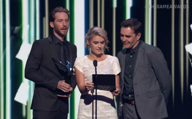 Uncharted 4 cast Troy Baker, Emily Rose and Nolan North reveal the winner for Best Art Direction. credit@TheGameAwards2016