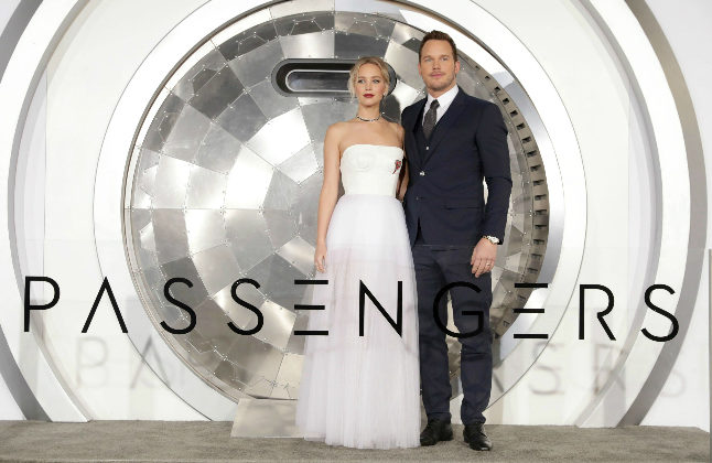 """Jennifer Lawrence and Chris Pratt seen at Columbia Pictures World Premiere of """"Passengers"""" at Regency Village Theatre on Wednesday, Dec. 14, 2016, in Los Angeles. (Credit@ Photo by Eric Charbonneau/Invision for Sony Pictures/AP Images) © 2016 CTMG, Inc. All Rights Reserved."""