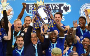 Leicester City, winners of Team of the Year, celebrating their EPL triumph. Credit @pinterest.com.