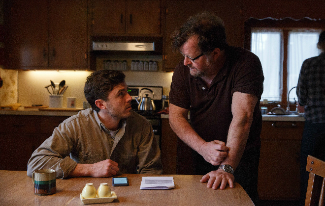 Casey Affleck and Kenneth Lonergan on the set of Manchester by the Sea. Credit@ Claire Folger. Courtesy of Amazon Studios and Roadside Attractions