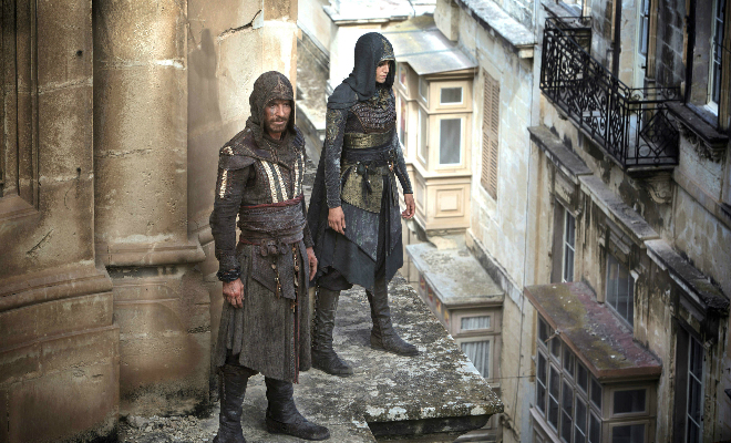Planning their next move from a vantage point. Photo Credit: Kerry Brown. - Copyright © 2016 Twentieth Century Fox Film Corporation. All rights reserved. ASSASSIN'S CREED Motion Picture Copyright © 2016 Regency Entertainment (USA), Inc. and Monarchy Enterprises S.a.r.l. All rights reserved.