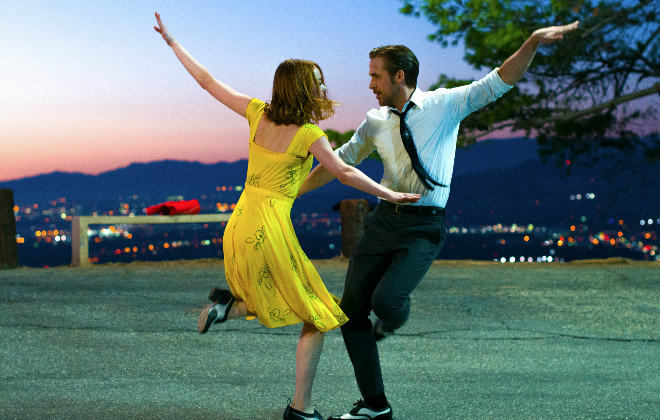 Sebastian (Ryan Gosling) and Mia (Emma Stone) dancing the night away in La La Land @Dale Robinette & 2016 SUMMIT ENTERTAINMENT, LLC. ALL RIGHTS RESERVED.