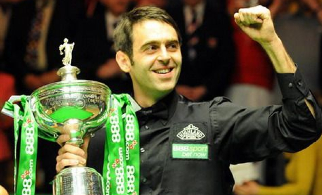Ronnie O'Sullivan with one of his 28 ranking titles. Credit @pinterest.com.