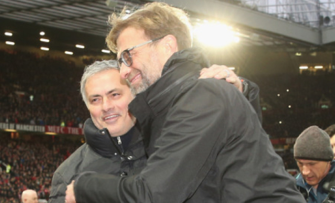 United manager Jose Mourinho and Liverpool manager Jurgen Klopp embrace at the full time whistle. Credit @tumblr.com.