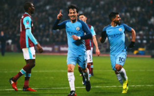 David Silva celebrates his goal in the victory versus West Ham. Credit @tumblr.com.