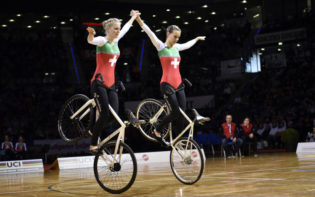 The Swiss women's pair performing at the World Championships. Credit @UCI via Facebook.