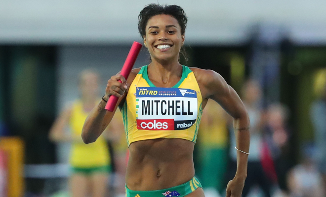 Australia's Morgan Mitchell running in the 2x300m relay. Credit @flickr.com.