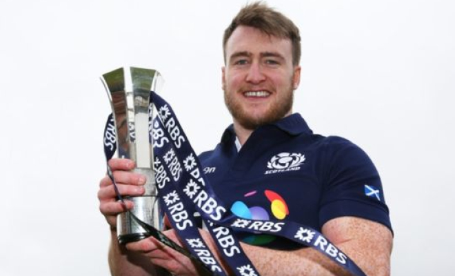 Scotland's Stuart Hogg with the Man of the Match award from the tie with Ireland. Credit @pinterest.com.
