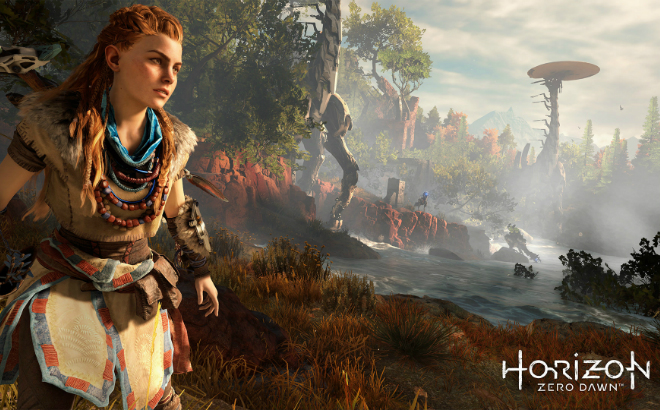 Aloy explores the vast open-world landscape of Horizon Zero Dawn. Credit©2017 Sony Interactive Entertainment Europe Limited. All content, games titles, trade names and or trade dress, trademarks, artwork and associated imagery are trademarks and or copyright material of their respective owners. All rights reserved.
