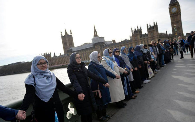 Muslim women unite in front of Westminster in support of those affected. Credit @Khaled Hosseini via Facebook.