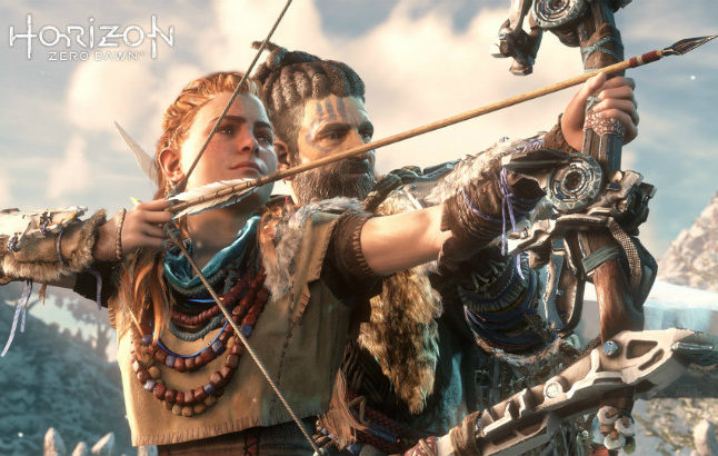Aloy and Rost practice archery in Horizon Zero Dawn. Credit©2017 Sony Interactive Entertainment Europe Limited. All content, games titles, trade names and or  trade dress, trademarks, artwork and associated imagery are trademarks and or copyright material of their respective owners. All rights reserved.