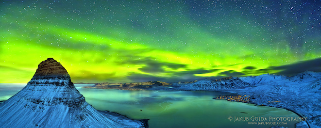 Panoramic view of Iceland in Winter