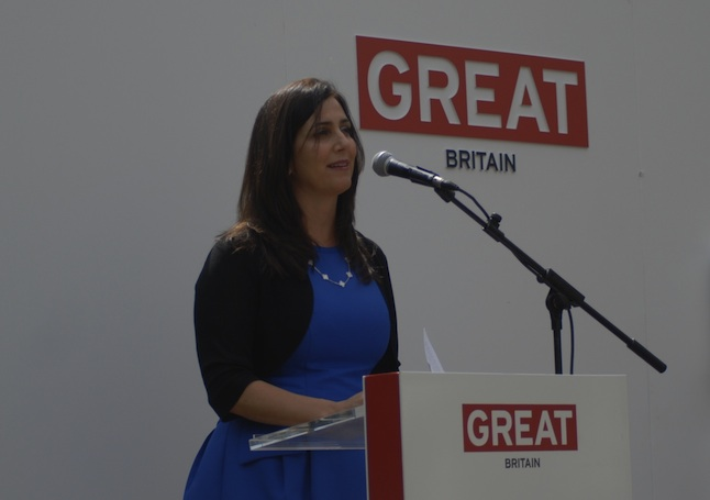 Joanna Shields delivers a speech at the Global Business Summit on ICT at the British Business Embassy