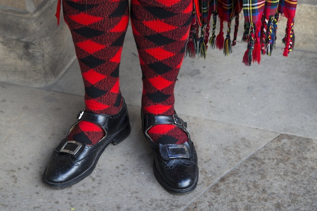 Shoes and socks of a bagpiper