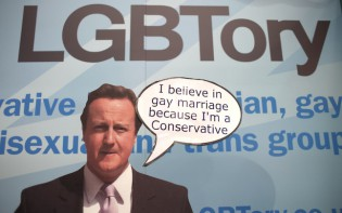 UK - Politics - Cutout of David Cameron in the LGBT stand at the Conservative Party Conference