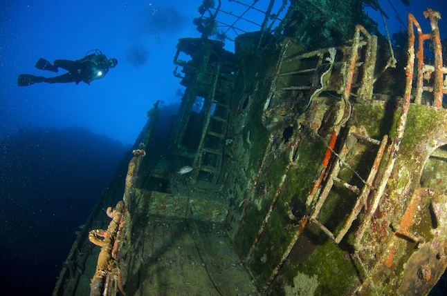 A diver explores the wreck of the Soltai 61 that lies vertically jammed against a reef, Solomon Islands.