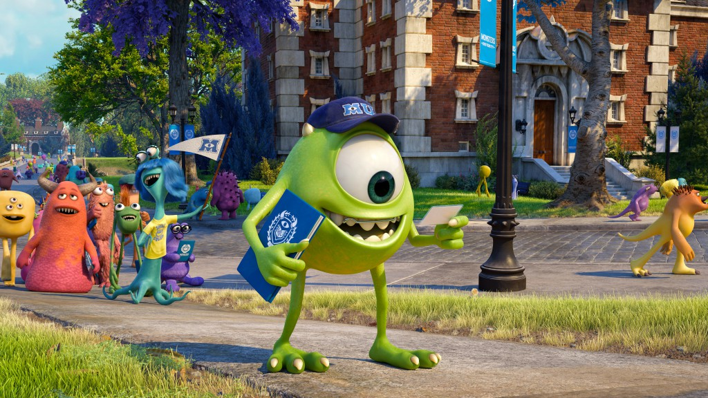 """MONSTERS UNIVERSITY"" (Pictured) MIKE amongst other MU monsters. ©2013 Disney•Pixar. All Rights Reserved."