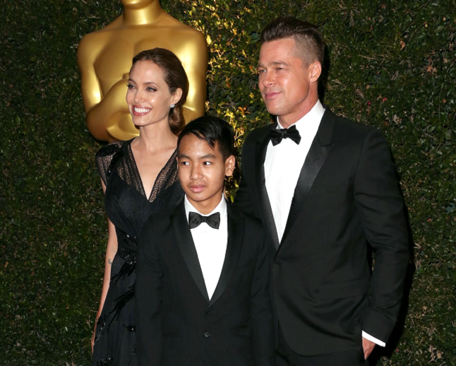 Angelina Jolie with partner Brad Pitt and son Maddox at Governors Awards. Pic credit - team-jolie.com